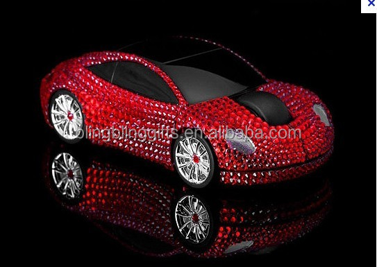 2014 Wholesale Fashion crystal wired mouse cute computer mouse