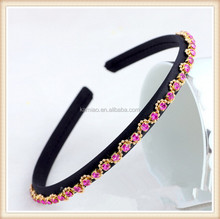 2014 designer ladies thin plastic wholesale purple crystal headbands hair accessories manufacturer