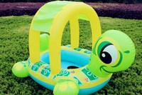 Inflatable Seat Ring Sunshade Tortoise Inflatable Baby Swim Float Seat Boat