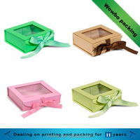 Top grade paper foldable gift box with clear window