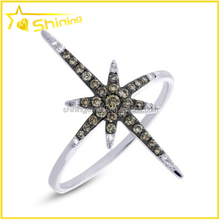 Womens 14K White Gold Plated S925 Sterling Silver North Star Cocktail Ring