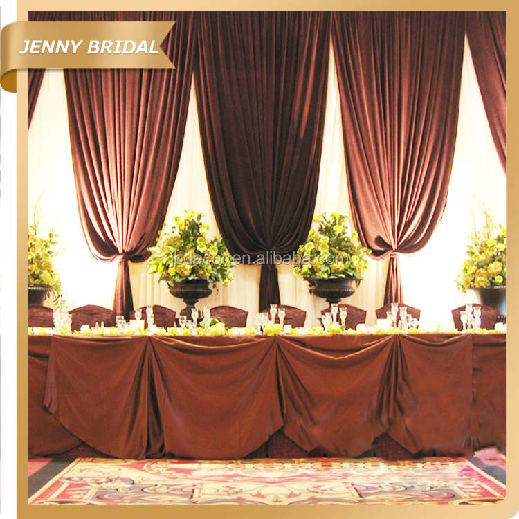 Bck011 China Brown Velvet Fabric Wedding Stage Backdrops Decoration