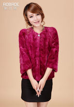 2014 New Style 7 point sleeves rabbit fur short with fox fur collar
