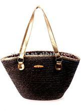 large hot golden & purple straw beach tote baby bag purse handbag