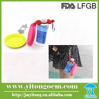 FDA/LFGB silicone dog folding bowl with bottle band and clip