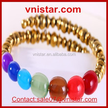 Vnistar 2015 Hot Sellers Journey Energy Colorful Beads Wire Bangle Cheap Wholesale