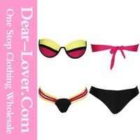 2015 xxl sex Rosy Sexy Color Blocking Neoprene Bikini