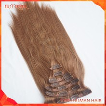 Wholesale Brown Color Virgin Clip-in Hair Straight Unprocessed 7A Cheap Brazilian Clip-in Hair Extension Top Quality Hair Weave