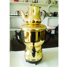 Latest electric stainless steel samovar,gold color design,304# S/S