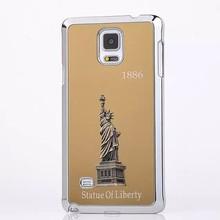 Para Samsung Galaxy Note 4 3D estatua de la libertad de Metal del cromo del Metal