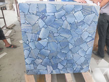SY decoration material bule aventurine backlit mosaic slab wall tile table top