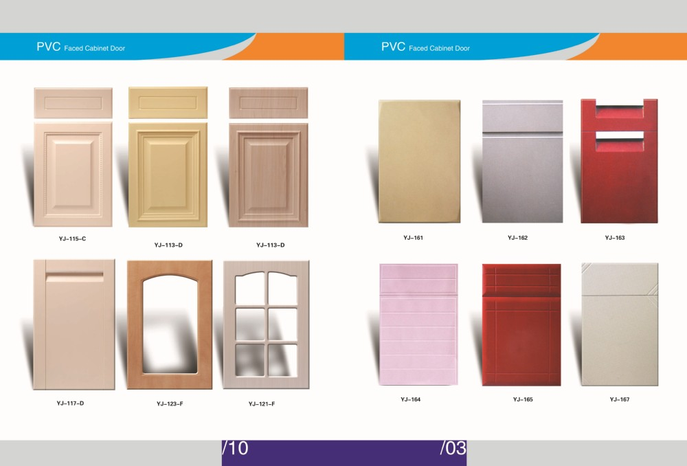 wooden grain pvc film coated mdf 2 cabinet doors