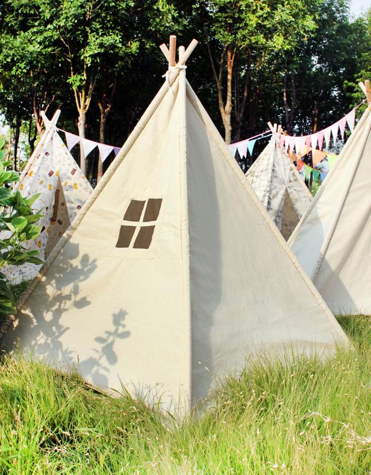 beige lin enfants indiens tente tente tipi maison de jeu tente pour enfants jouets tente id de. Black Bedroom Furniture Sets. Home Design Ideas