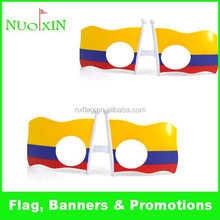 custom personlized fashion popular promotion plastic Colombia flag fans glasses for World Cup