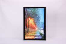 Abstract oil painting large L framed painting hanging art