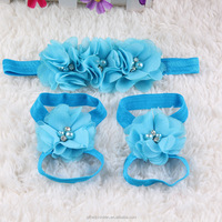 Fashion Sets of Baby & Girls Headbands Foot Flower Barefoot Sandals Feet Accessories