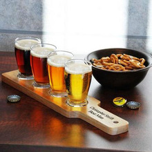 wooden beer tasting tray holder / wooden tray cup holder / wooden shot glass tray for bar