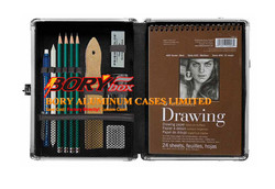 Locking Sketch Box Pencil book box aluminum case