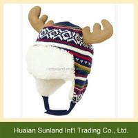 W-1075 animal reindeer earmuffs crochet beanie lovely reindeer earflap knitted hat