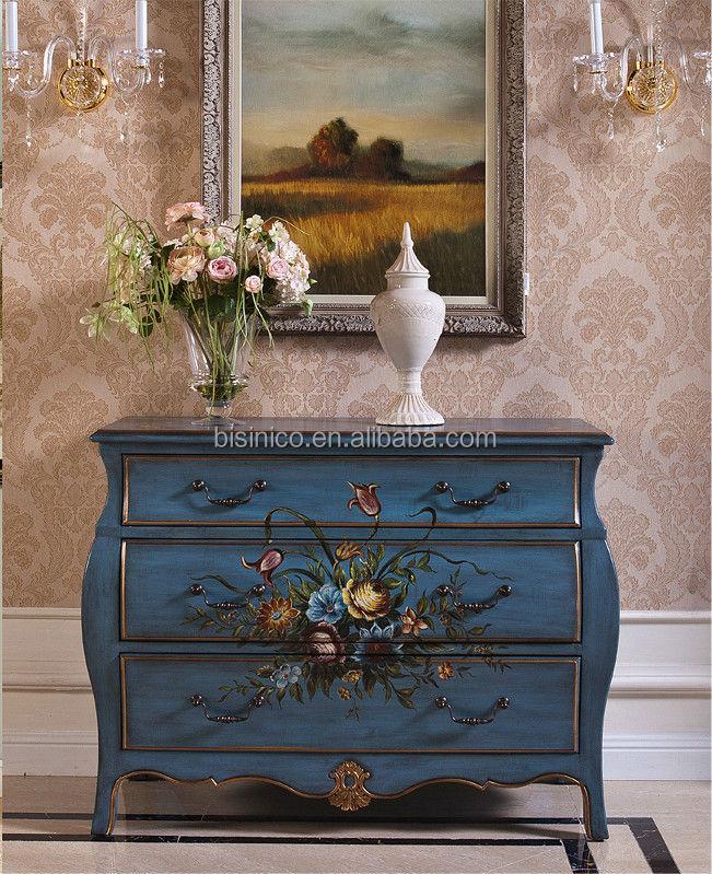wohnzimmermöbel vintage: konsole, dekorative handbemalte kommode, vintage holz wohnzimmermöbel