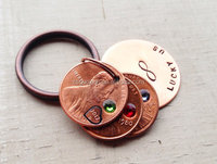Lucky keychain hand stamped custom you choose birthstone copper keyring initials name date