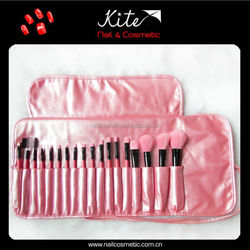 2015Hot sell travel brush set with pouch/shiny pink make up brushes
