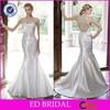 Latest Dress Design Mermaid Sleeveless Beaded Illusion Back Wedding Dress Patterns