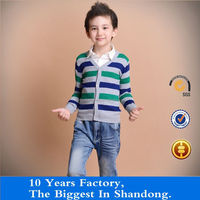 boys knitted autumn thin sweater V-neck buttons cardigan multicolor