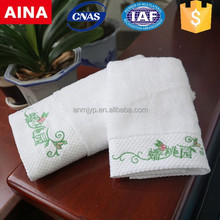 Embroidered dobby border 100% cotton hand towel set