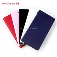 New Genuine Leather Fold Up Stand Scratch Proof Phone Case Cover For Huawei P8