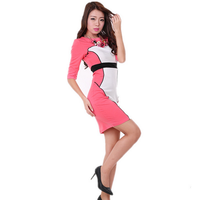 2015Latest design western fashion half sleeeve lady skirt slim splice party fancy pretty winter sweet girls dress