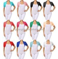 OEM Custom Wholesale Bolero Cropped Shrug Jacket Cardigan Ruched Short Sleeve Stretch Cotton Top Shrug Designs for Women