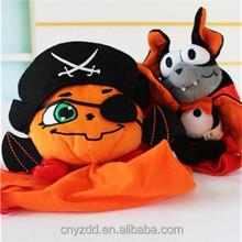 Holloween Plush Pumpkin Gift Bag/Stuffed Pumpkin and Bat Intresting Toys with Plush Bag