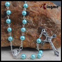 Catholic Women or Girls Aqua Glass Bead Rosary with Hail Mary Center