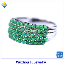 Hot Sale Style Silver Ring Kivi Green Opal Beads Inlay Fashion Ring