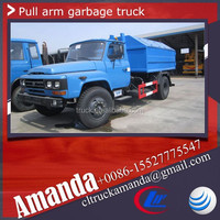 Dongfeng 8000L garbage container lift trucks, 5 tons hook lift garbage truck