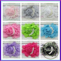In Stock Chiffon Rosette Flowers With Fake Pearl,Children Boutique Hair Flowers Hair Accessories