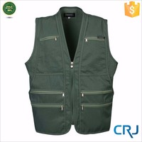 2015 fashion mens zip up no collar fishing Vest