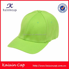 plain blank cotton polyester 6 panel lime green baseball cap