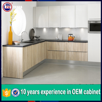 Cheap Kitchen cabinet door Lacquer and Melamine Mixed Style New Kitchen Cupboard Cabinet for Sale