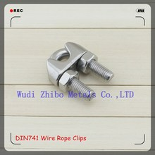 Silver Color High Polished Stainless Steel DIN741 Fasteners Wire Rope Clip / Clamp In Rigging