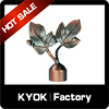 KYOK Natural style leaf curtain rod end caps, aluminum alloy decorative pipe finial, flexible curtain brackets
