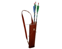 shoulder type leather arrow bag for holding 30 pieces arrows