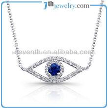 joyería de moda de mal de ojo en forma de diseño de collar de zafiro azul con diamantes cz