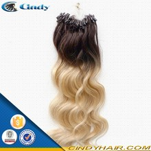 high quality 2g 100% virgin remy human ombre micro loop ring hair extension