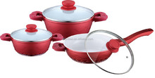 6pcs Die-cast aluminum ECL ceramic colour cookware with induction bottom