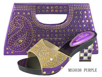2015 woman fashion design evening shoes with matching bags purple MS3038