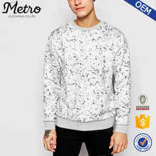 2015 OEM Brand Wholesale New Design Men's Paint Splat All Over Print Crewneck Sweatshirt