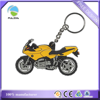 custom 2D 3D cheaper motorcycle shaped rubber soft pvc keyring