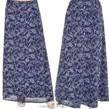 Gros mode jupe longue pour les femmes musulmanes bleu en mousseline de soie imprimé floral maxi jupe jupe longue musulman